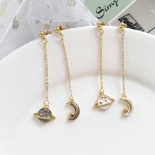 Fashion alloy long drop earrings earth star moon earrings stud for women stud without holes ear clips