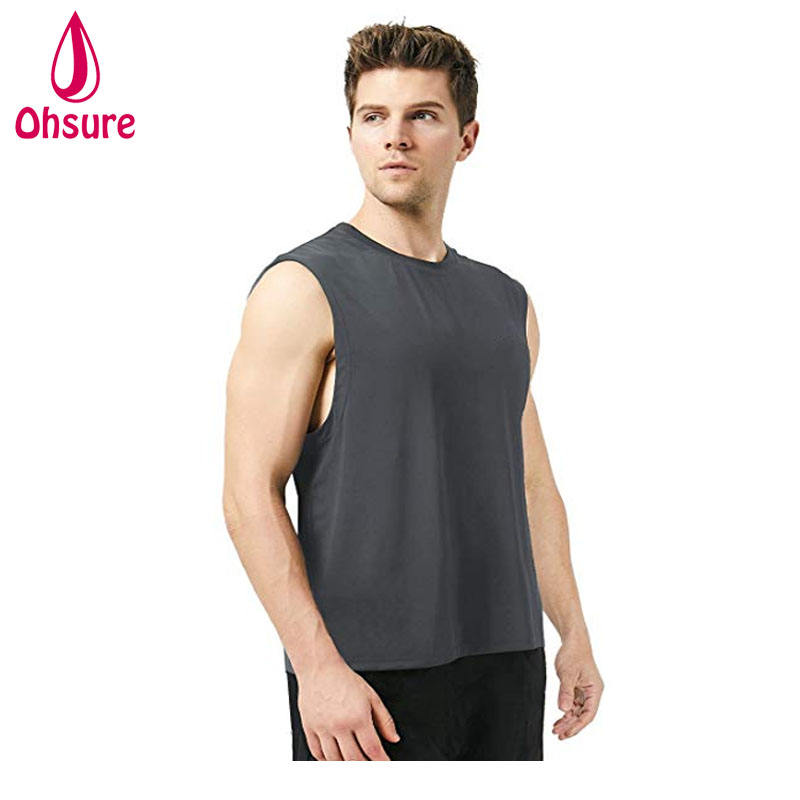 ผ้าฝ้าย 95% 5% spandex Mens fitness Gym Plain Tank Top