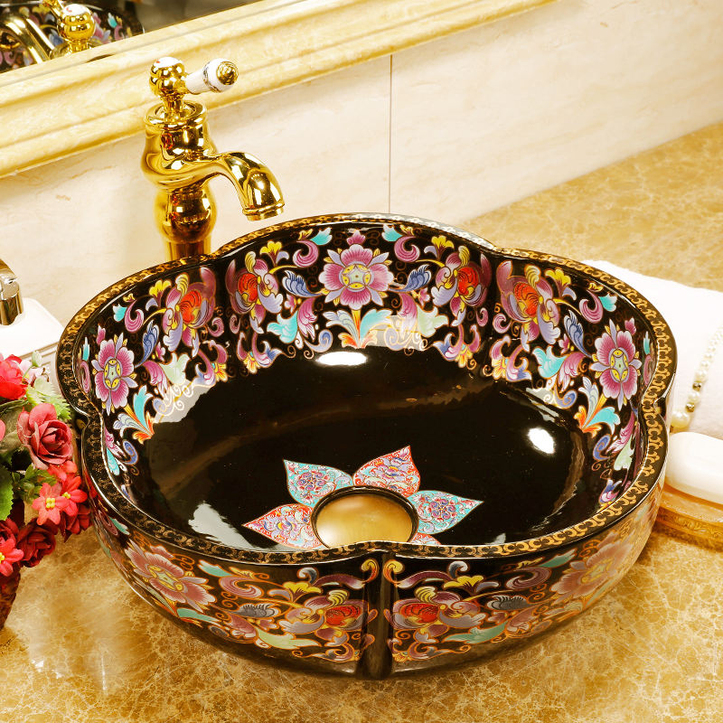 China Artistic Handmade Ceramic wash basin Round Counter top wash hand basin porcelain flower shape black bathroom sinks