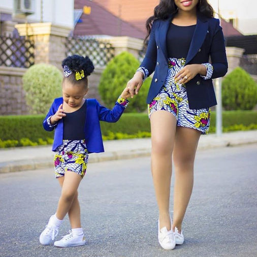 Custom 2020 african women short kid short african fabric wax print Ankara shorts mommy and me 2 piece sets coat and pant OEM
