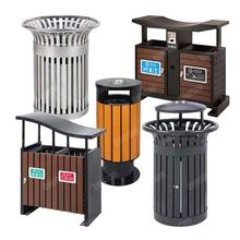 Woodview Outdoor Recycling Trash Can with Dual Litter Bin & Trash Bin, Plastic Wood Outdoor Double Trashcan