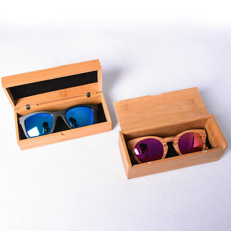 High End Handcrafted 100% Degradable Plastic Free Private Label Bamboo Sunglasses Case Box Set