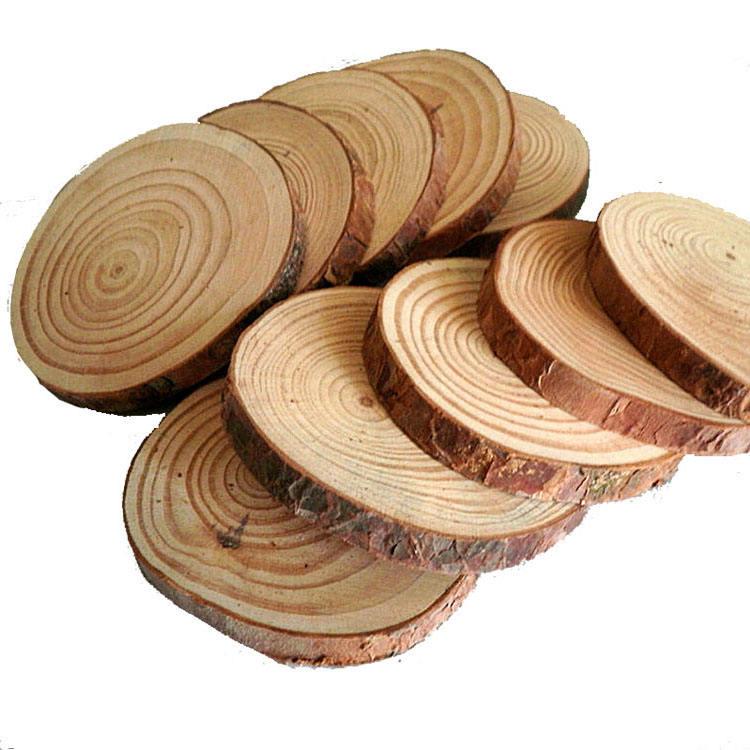 wholesale custom coasters of wood slices large pine thin wooden round discs for crafts decoration