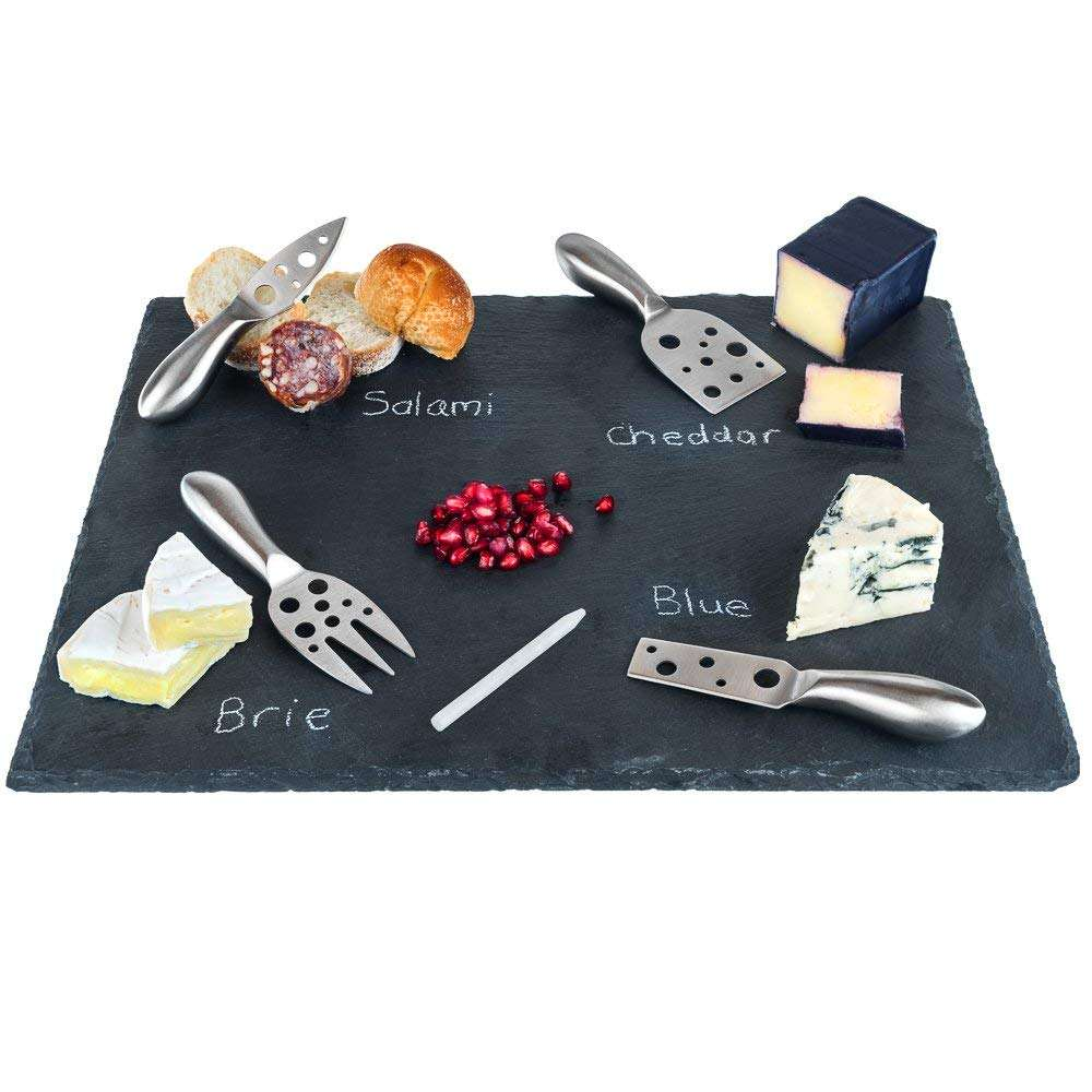 "12"" x 16"" Slate Cheese Board and Stainless Steel Cutlery Set"