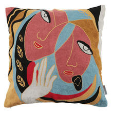 Cotton 18x18 Inch Picasso Women Face Embroidered Car Seat Pillow Cover Arab