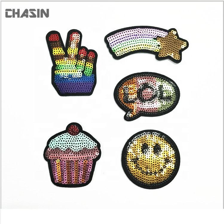 Cheap custom embroidery sequin applique patch