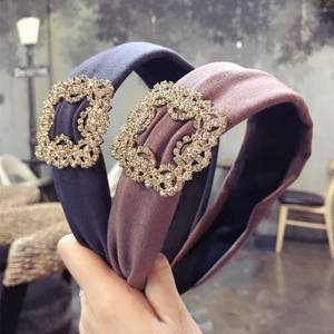 Korea High Quality Square Diamond Wide Side Hairbands Crystal Multi colour Hair Accessories Headbands For Women
