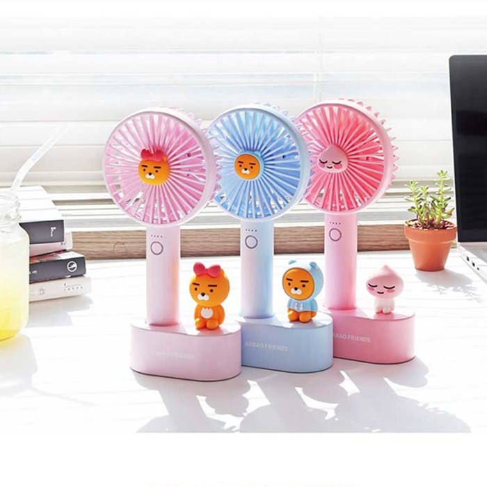Korea 핫-sale 카카오스토리] Friends 만화 Character USB 충전식 Mini Handy 팬 Personal Handheld 메트 vintage Desk 팬 Charging 와 Base