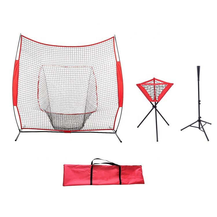 High Quality 7FT Baseball Practice Hitting Net And Ball Caddy And Batting Tee Set