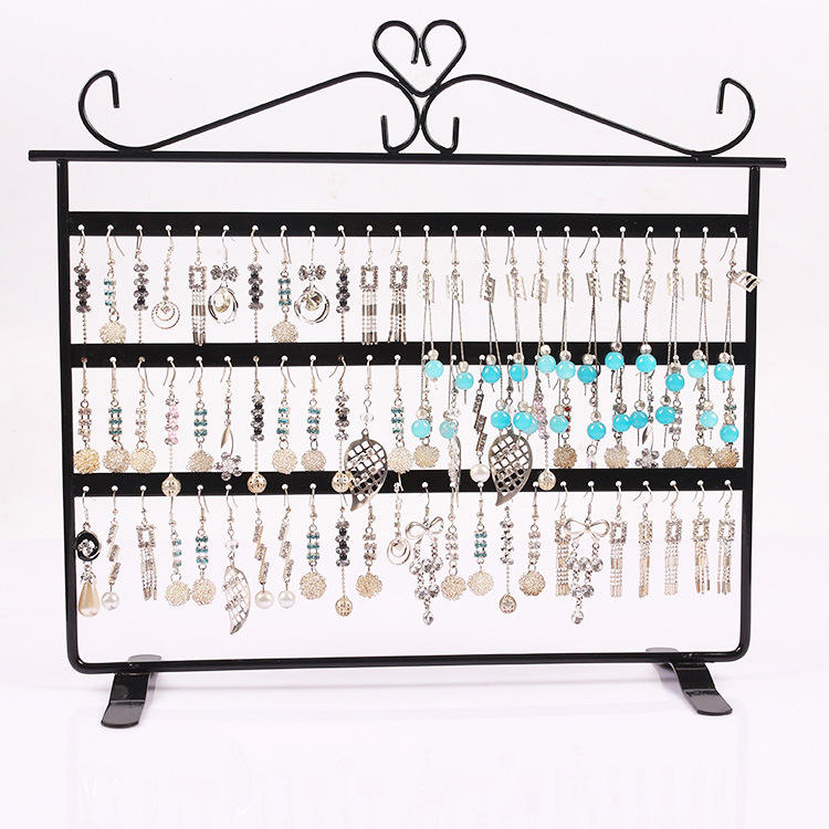 wholesale Counter Double Sided Organizer for Hanging Earrings Metal Jewelry Display Stand
