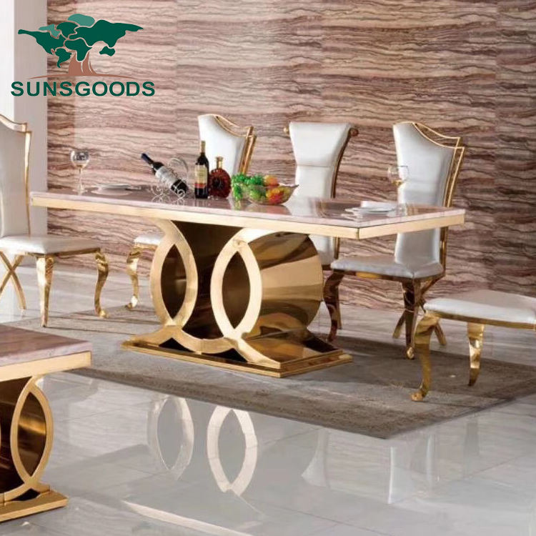 Hot Sale New Luxury Dining Room Furniture Dining Tables, Dining Room Sets 6 Dining Chairs, Marble Dining Table Set Modern