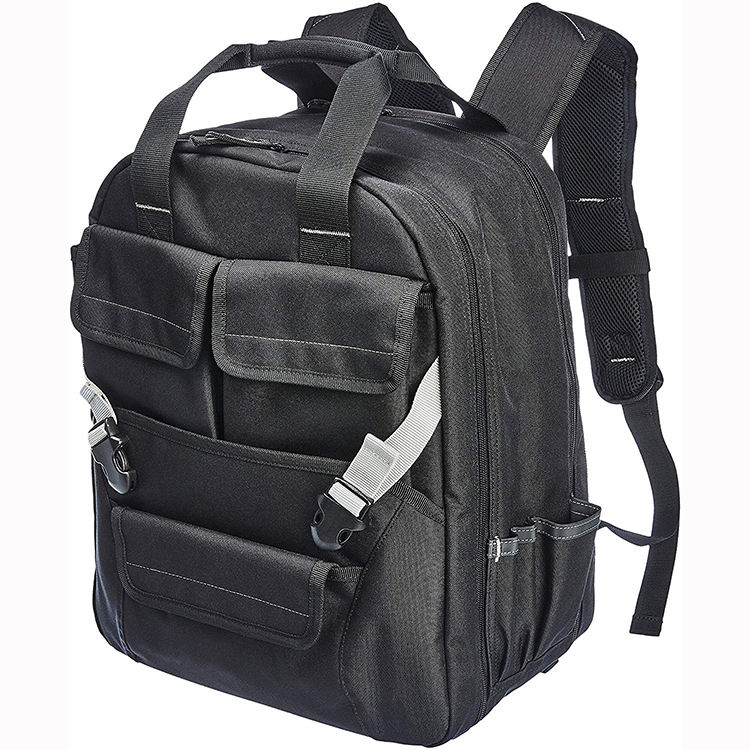 Heavy duty custom tool backpack bag for electrician and plumber