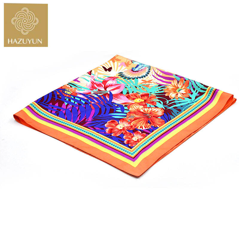 New Fashion Twill 90*90 Square Scarf Custom Printed Silk Scarf for Women