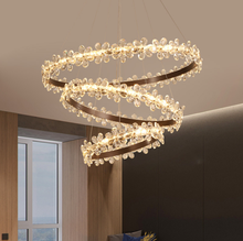 Flower shade coffee and golden color led K9 crystal pendant lamp modern ETL86103