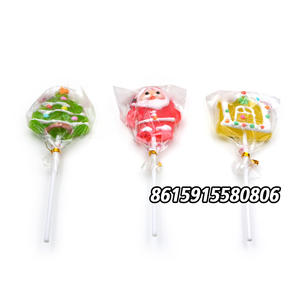 Christmas cartoon shaped mix fruit cute lollipop stick candy for decoration