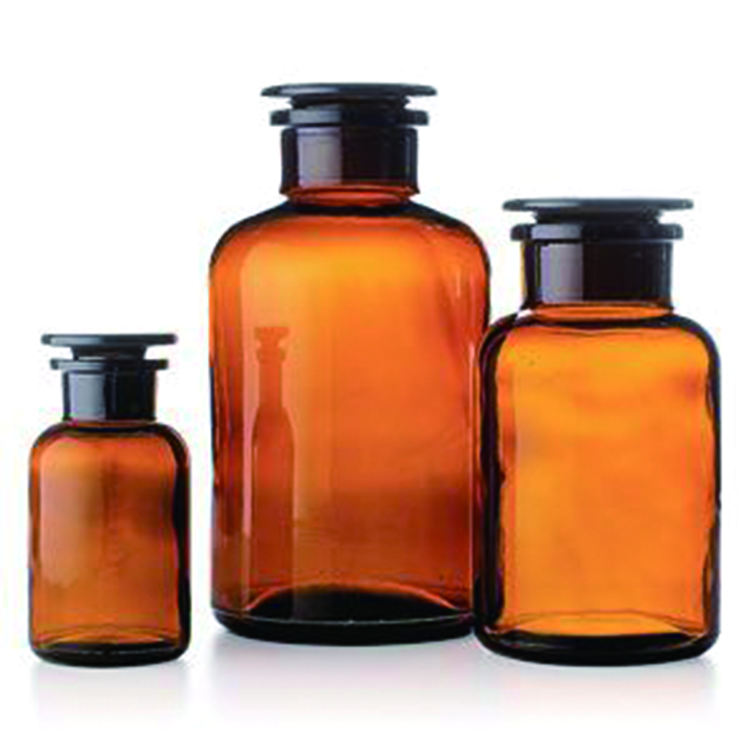 30ml 60ml 125ml 250ml 500ml 1000ml amber Medical glass pill apothecary reagent bottle with Sealed glass cork