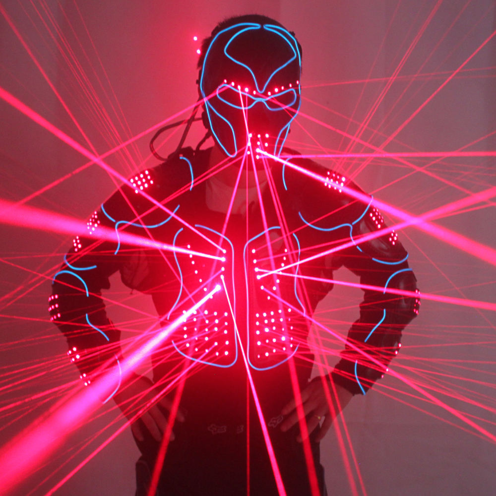 New Arrival Laser Robot Suits, Red Laser Waistcoat LED Clothes, 650nm Laser Man Stage Costumes For Nightclub Performers