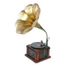 CY084 Vintage Nostalgic Phonograph Model Metal Crafts Retro Record Player Miniature Ornament Coffee Bar Home Office Decor
