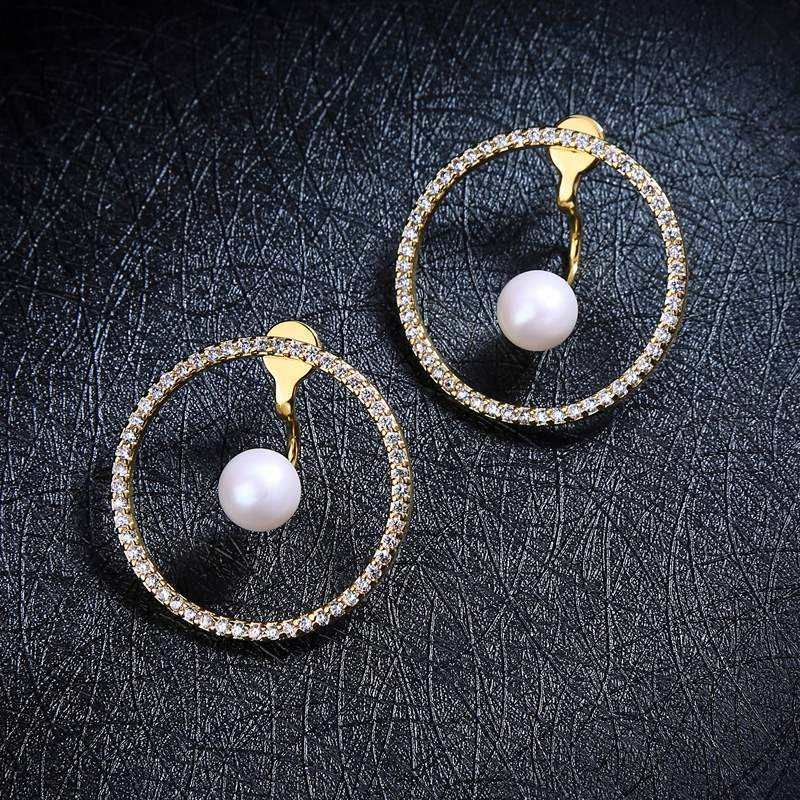 Plated Catalog Gold Jewelry Crystal Hoop Pearl Earring