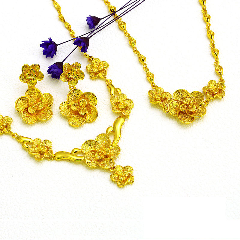 xuping jewelry 24k gold plated flower wedding jewelry set for women