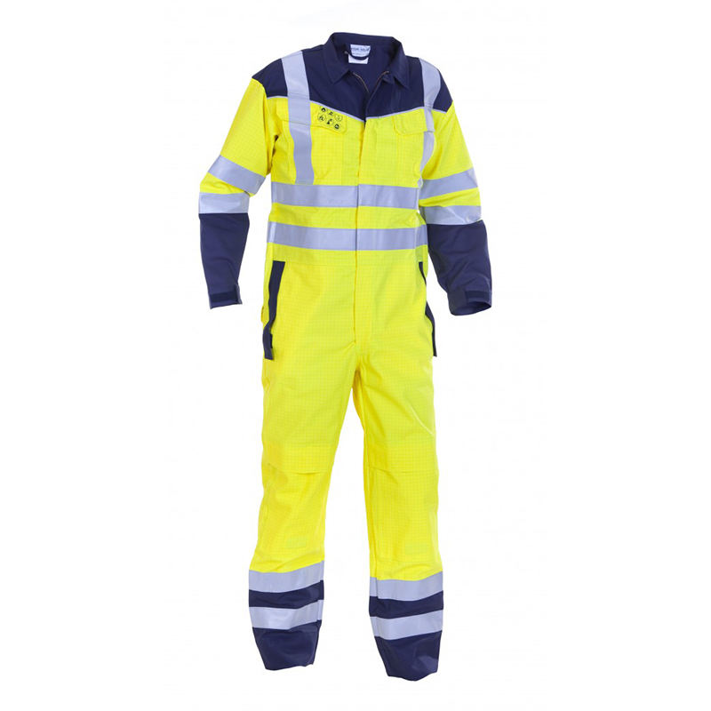 Fireman protection 100% fr cotton reflective tape boiler suit En531 fire retarded navy safety coverall