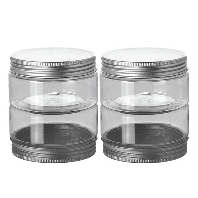 50g PET Plastic Type and Aluminum Cap Material clear plastic jar with lid Clear Plastic Jar With Lid