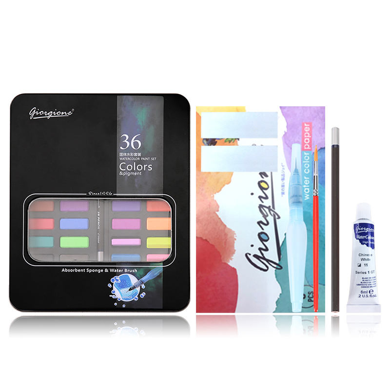 Giorgione W-3600 Solid 36 Colors Watercolor Painting Water Color Set Free Carrying Case Tin Box