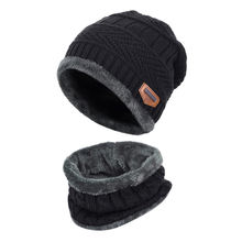 Winter Scarf And Hat Set 2-Pieces Knit Round Warm Men Knitted Neck Tube Acrylic Warm Knit Beanie Cap And Scarf
