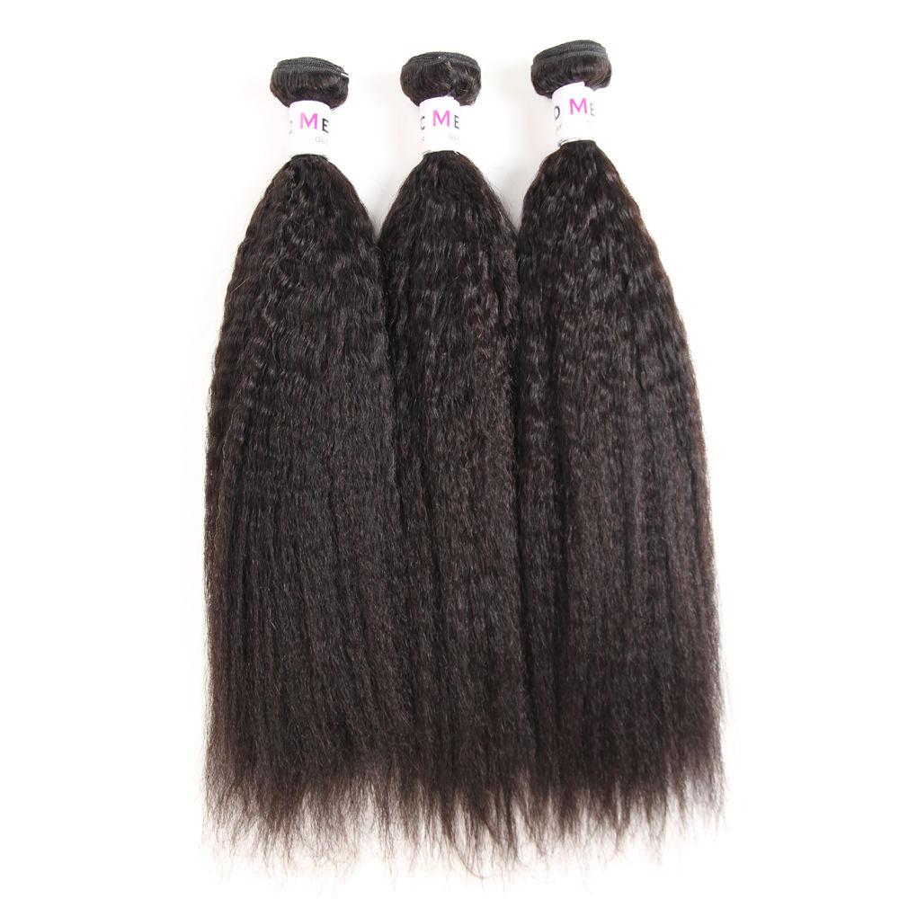100% Non Transformés Crépus Brésiliens Vierges Humain Droite Crochet Cheveux Bundles Trame de Peau
