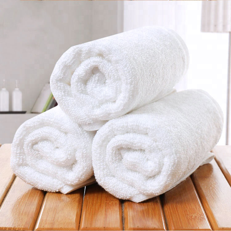 Luxury 16S 100% Cotton White Woven Hotel Face Cloth Bath Towel Set