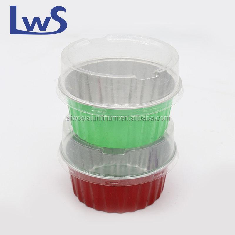 Круглый одноразовая алюминиевая фольга пудинг Кубок алюминиевые формы для выпечки с крышками