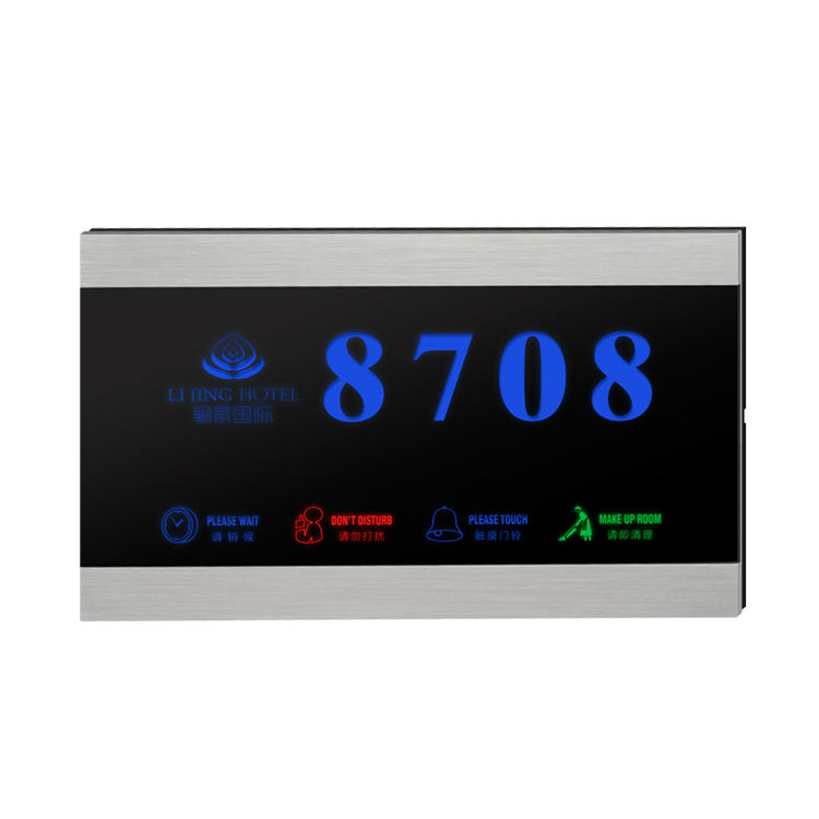 Nirkabel Smart Hotel Rcu Barang dan Kaca Tempered Materialroomnumberplate