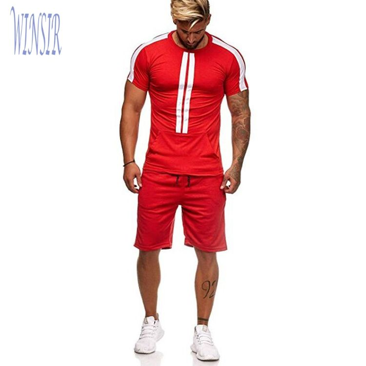 Athletic 85% Polyester 15% Spandex Fitness Workout 2 Piece Track Suit Running Dry Fit Wicking Training Short Sport Set For Men