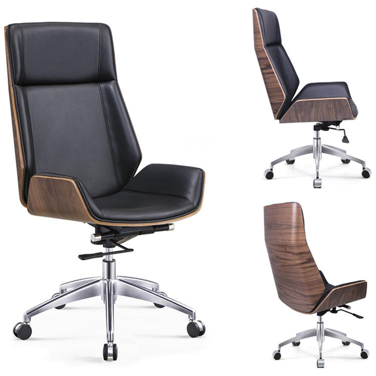 GY-4060 Modern Office Furniture Leather Wood Silla High Back Swivel Lounge Chaise Conference Meeting Executive Office Chair