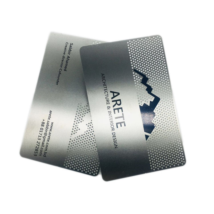 Luxury Wholesale Cheap Custom Printing Engraved Name Logo Stainless Steel Metal Business Card