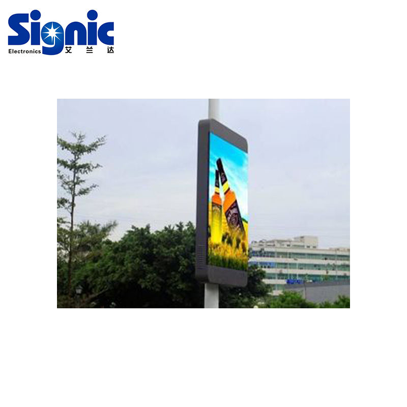 Road Pole Stand Solar Advertising LED display screen for Outdoor Advertising