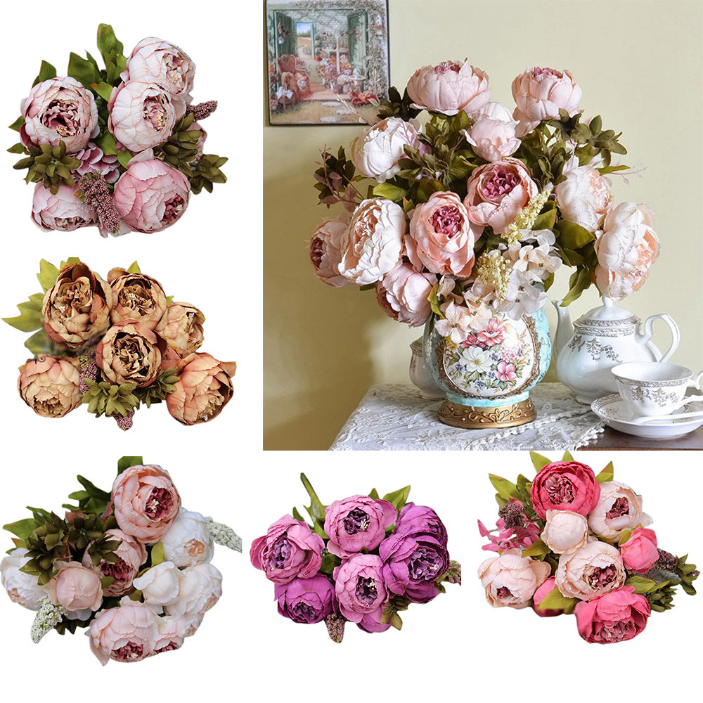 1 Bouquet 13 Heads Artificial Peony Silk Flower Leaf Home Wedding Party Happy Gifts High Quality Silk-like&Plastic