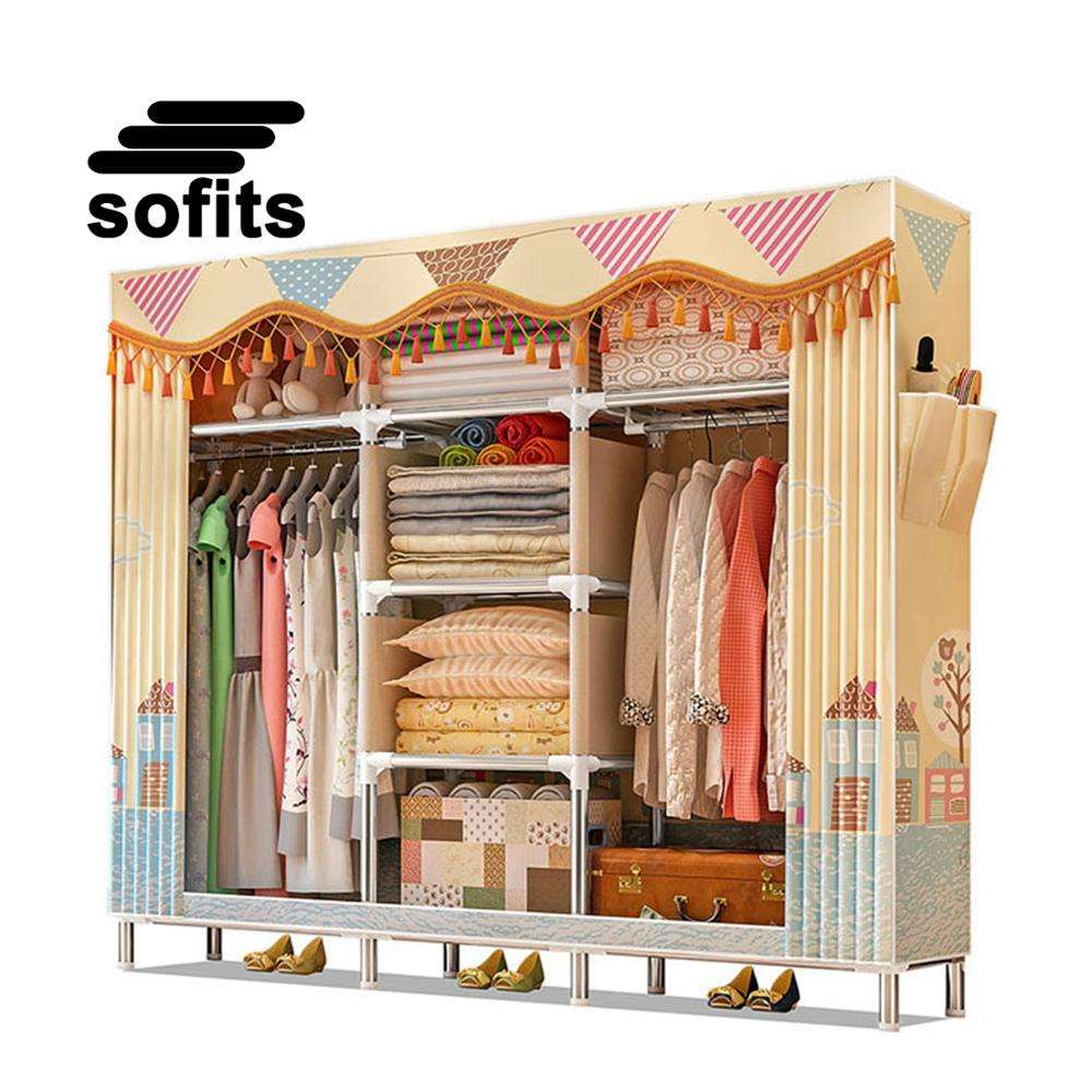 Portable Wardrobe Cabinet with Metal Fabric Wardrobe at Multifunctional DIY Bedroom Wardrobe Designs