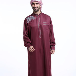 A6166 polyester broderie col montant musulman homme Haramain turc islamique Thobe
