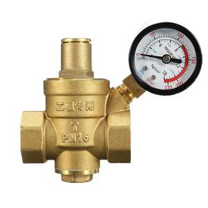 COVNA DN25 1 inch Lead-Free Brass Low Pressure Adjustable RV Water Pressure Reducing Regulator Valve