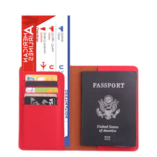 2019 customized colour RFID leather travel wallet passport holder and tag