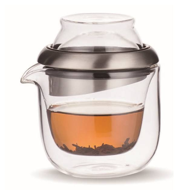 160ml Portable Travel Glass Tea Pot Set With 2 70ml Double-wall Glass Cups