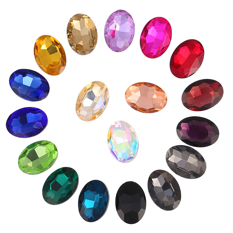 Ellipse shape Colored Nail art Crystal Fancy Glass Stone Jewelry making Rhinestones
