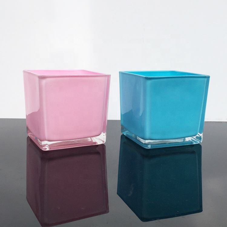 High Quality Color Glass Hand Blown Tall Square Glass Candle Holders