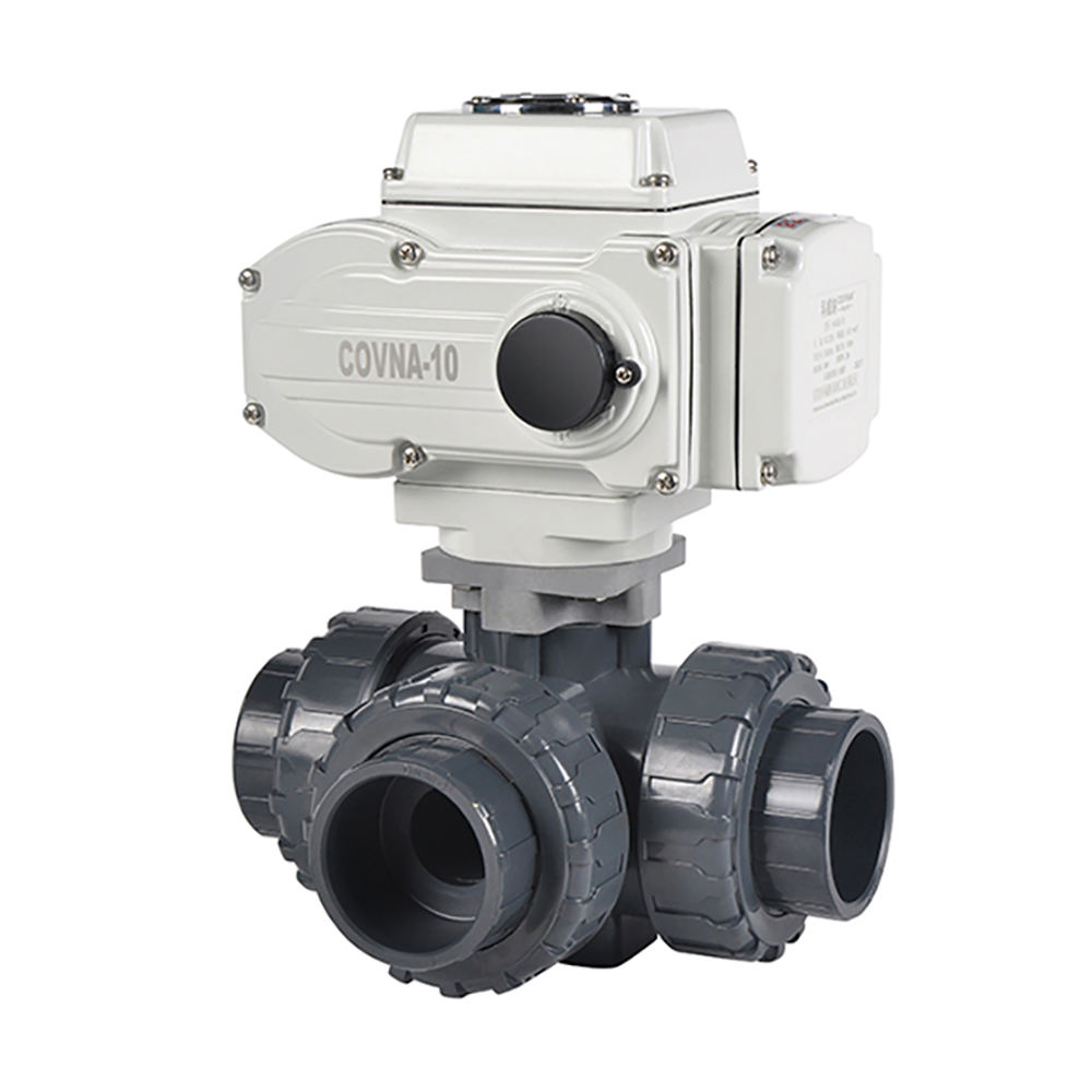 COVNA DN50 2 inch 3 Way T Port 220V AC Motorized PVC True Union Ball Valve with On Off Electric Actuator