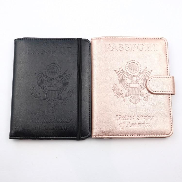 RFID blocking elastic band passport holder custom travel wallet leather cover case