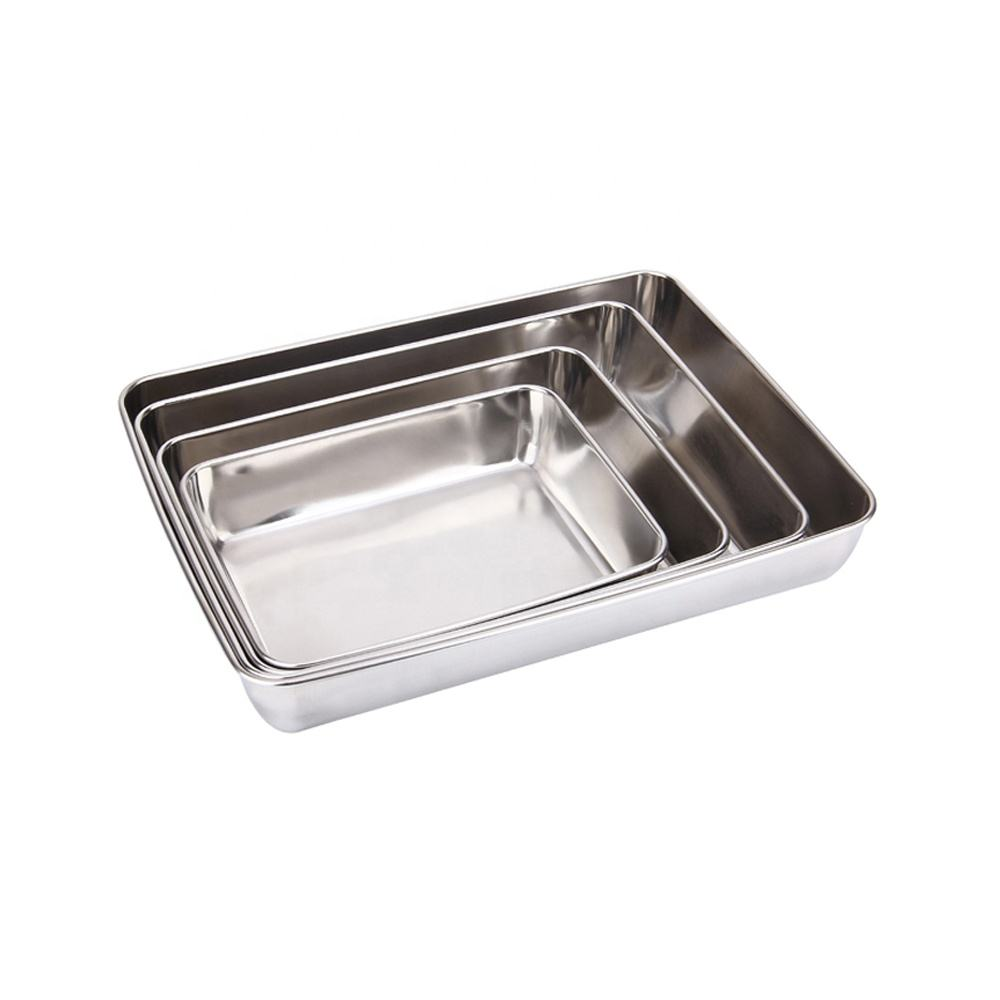 Hot Sale Hotel Rectangle Deep Plate Metal Towel Tray Stainless Steel Food Serving Tray