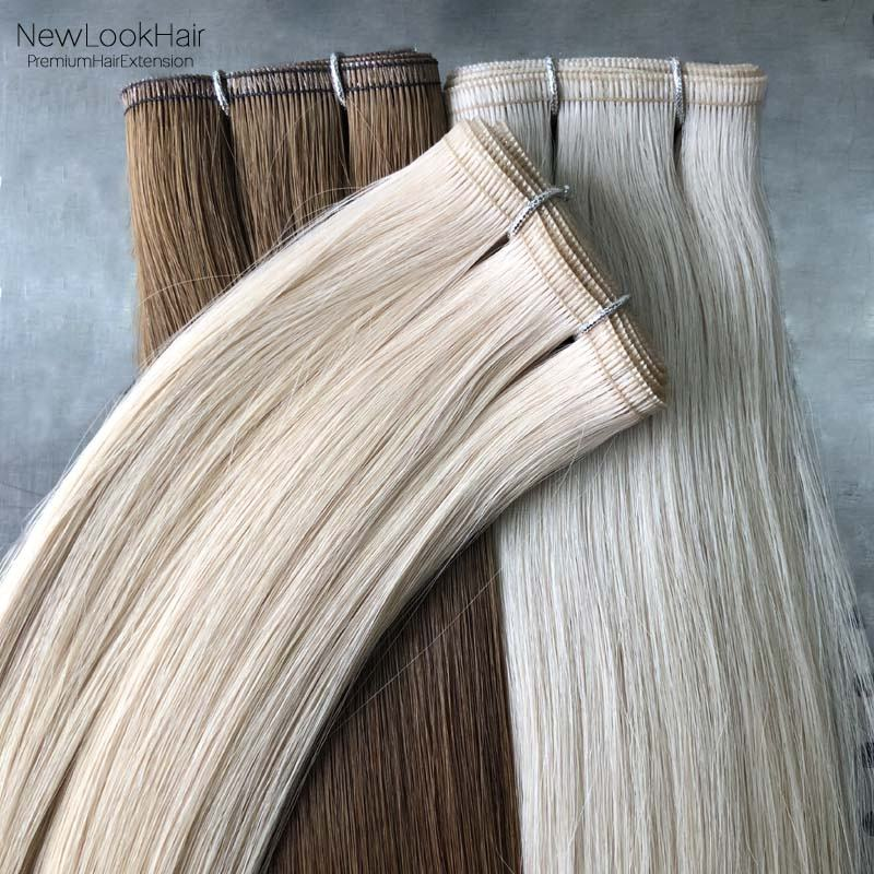 New double drawn flat track russian remy human hair weave 100g invisible skin pu weft hair extensions