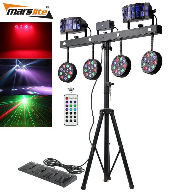 Profesional Portabel DJ Lampu Disco DJ Equipment 4 Pcs 12X1 W RGBW 4in1 Par LED Bar Lampu Panggung dengan Stand