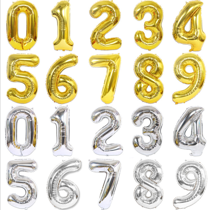 Amazon Hot Sell Huge 40 inch Number Balloons Gold Silver Rose Gold Giant Number balloons for wedding Birthday Party Supplier